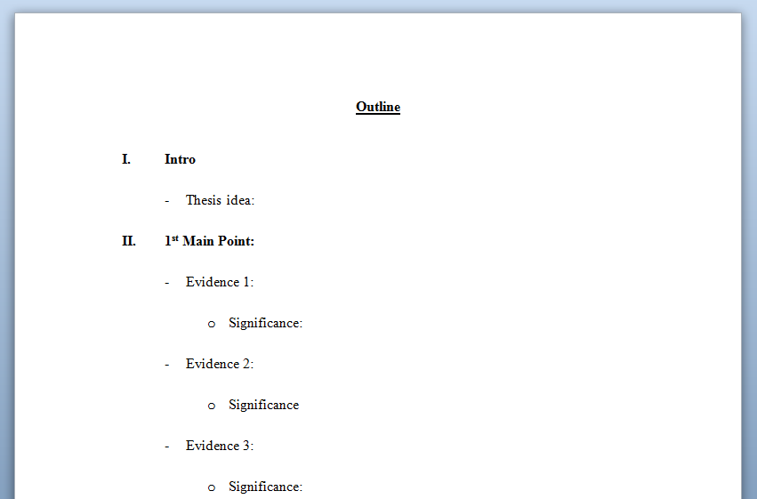 College essay outline format