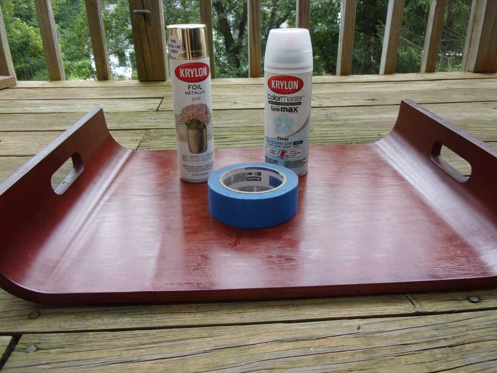 All the supplies you need to make over a tray into a convertible lap desk.