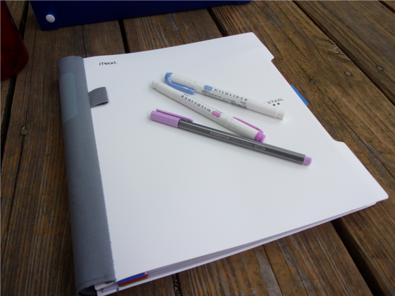 A clean white notebook, some mildliners, and a bright pen are the keys to my success.