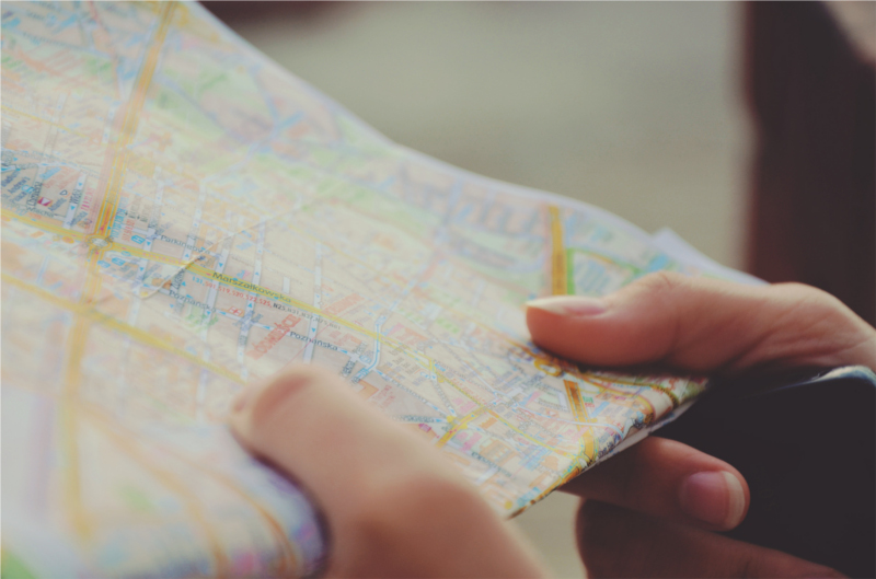 You probably don't want to carry a physical map around campus, but check one to see which routes you'll need.