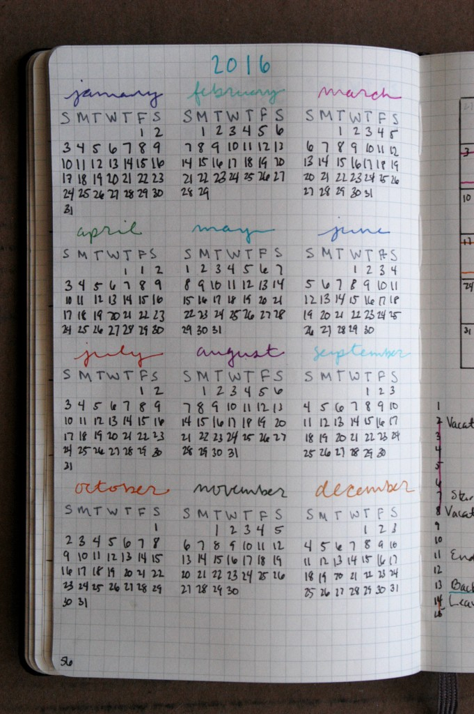 Yearly Calendar Bullet Journal : Plan your month and year with the bullet journal living