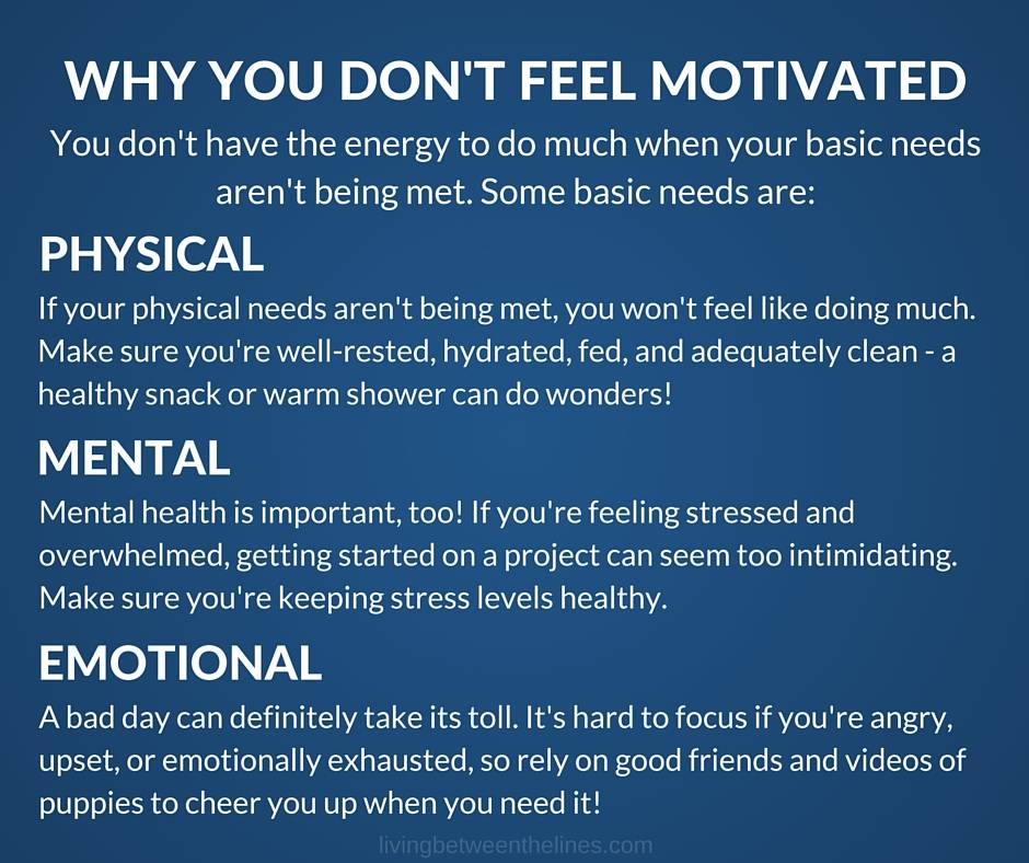 Why don't you feel motivated? Maybe your physical, mental, or emotional needs aren't being met.