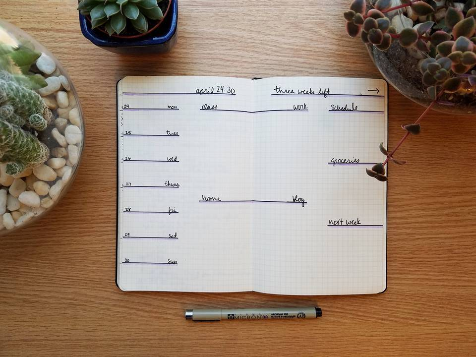 minimalist bullet journal layout